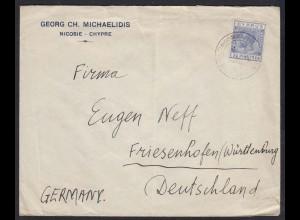Zypern - Cyprus Brief mit 2 1/2 Piaster von Nicosia nach Friesenhofen (17620
