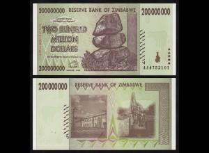 Simbabwe - Zimbabwe 200 Millionen Dollars 2008 Pick 81 UNC (17900
