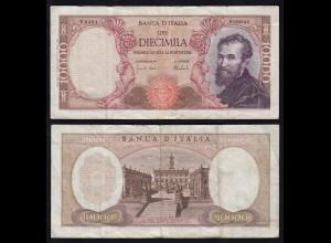 Italien-Italy 10000 10.000 Lire Banknote Michelangelo 1973 F/VF (4/3) Pick 97f