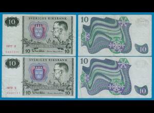 Schweden - Sweden je 10 Kronen 1977 + 1979 ca.VF (3) (18477