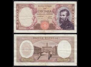 Italien - Italy 10000 10.000 Lire Banknote Michelangelo 1966 ca. VF (3) Pick 97c
