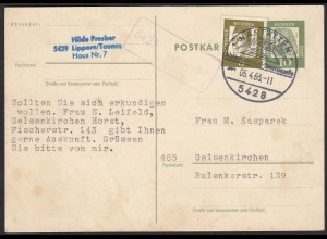 Karte Posthilfstelle/Landpost 5429 Lipporn über Nastätten 1963 (17606