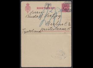 Schweden - Sweden 1911 KORTBREV m.Nach-Taxe Stockholm-Berlin (17613