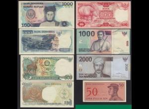 Indonesien - Indonesia 8 Stück verschiedene Banknoten UNC (17885