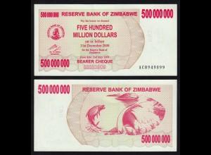 Simbabwe - Zimbabwe 500 Millionen Dollars 2008 Pick 60 UNC (17901
