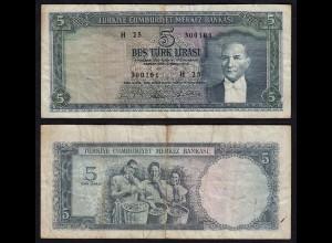 Türkei - Turkey - 5 Lira 1965 Banknote F/VF (3/4) Pick 174 (17564