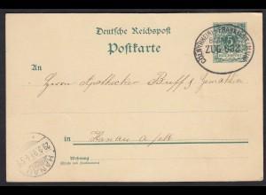 DR Deutsches Reich Ganzsache Bahnpost 1899 Cöln-Frankfurt nach Hanau