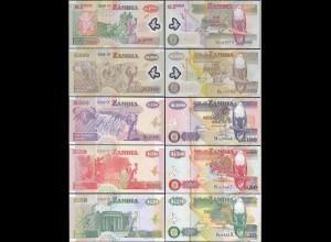 Sambia - Zambia 20 - 1000 Kwache 5 Stück Banknoten UNC (1) (12968