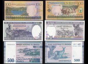 RUANDA - RWANDA 100,100,500 Francs Banknoten 1989,1994,2003 UNC (1)