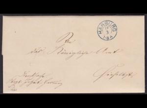 Altdeutschland HANNOVER 1861 Brief HARBURG K2b mit Inhalt (15916