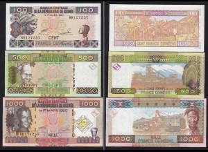 Guinea - Guinee 100, 500 + 1000 Francs 1998/2010 UNC (15301