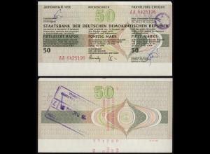 DDR Reisescheck 50 Mark Eingelöst in der Karibik 1989 (23443