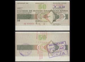 DDR Reisescheck 50 Mark Karibik eingelöst 1989 Vorderseite ohne Unterschrift