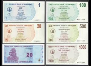 SIMBABWE - ZIMBABWE 1,20,20,100,500,1000 Dollars 2007/09 UNC (23474
