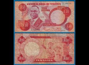 Nigeria 10 Naira Banknote sig.7 Pick 25b F- (4-) (18170