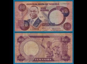 Nigeria 10 Naira Banknote Pick 21a sig.4 F (4) (18186