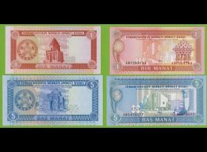 Turkmenistan - 1, 5 Manat Banknoten 1993 UNC (18209