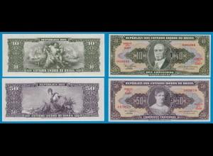 Brasilien - Brazil 1 + 5 Centavo Überdruck Banknoten UNC niedr.Serien Nr.