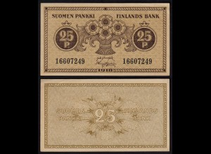 FINNLAND - FINLAND 25 PENNIA BANKNOTE 1918 PICK 33 XF (2) (23583