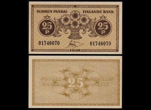 FINNLAND - FINLAND 25 PENNIA BANKNOTE 1918 PICK 33 AU (1-) (23586