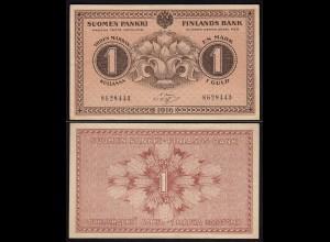 FINNLAND - FINLAND 1 MARKKA BANKNOTE 1916 PICK 19 AU (1-) (23591