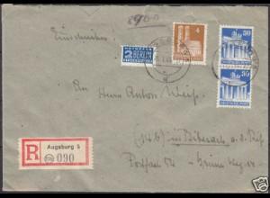 Bedarfs-R-Brief Augsburg nach Biberach 1949 Bauten (4312