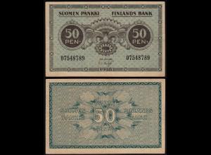 FINNLAND - FINLAND 50 PENNIA BANKNOTE 1918 PICK 34 VF (3) (23601