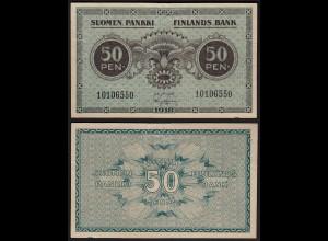 FINNLAND - FINLAND 50 PENNIA BANKNOTE 1918 PICK 34 VF+ (3+) (23602