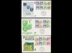 BERLIN 3 Stück FDCs B&S Heftchenblatt 19,20,21 (23492