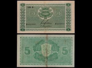 FINNLAND - FINLAND 5 MARKKA 1939 Litt. D PICK 69a VF- (3-) Serie B (23607