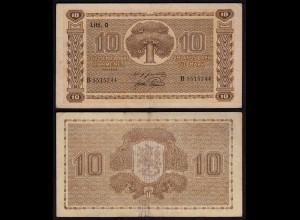 FINNLAND - FINLAND 10 MARKKA 1939 Litt. D PICK 70a VF (3) Serie B (23624