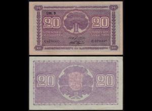 FINNLAND - FINLAND 20 MARKKA 1939 Litt. D PICK 71a VF+ (3+) Serie C (23626