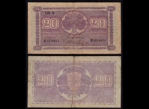 FINNLAND - FINLAND 20 MARKKA 1939 Litt. D PICK 71a F- (4-) Serie C (23627