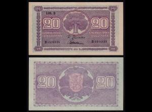 FINNLAND - FINLAND 20 MARKKA 1939 Litt. D PICK 71a aUNC (1-) Serie B (23628