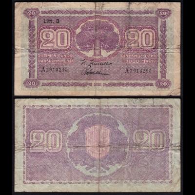 FINNLAND - FINLAND 20 MARKKA 1939 Litt. D PICK 71a VG (5) Serie A (23631