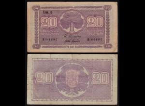 FINNLAND - FINLAND 20 MARKKA 1939 Litt. D PICK 71a F (4) Serie B (23632