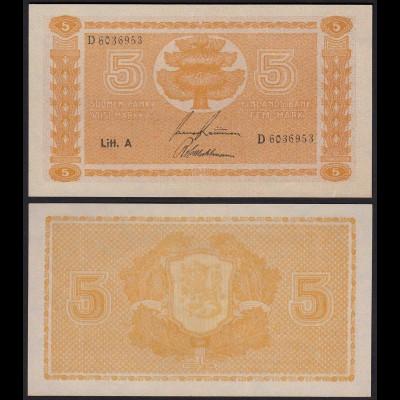 FINNLAND - FINLAND 5 MARKKA 1945 Litt. A PICK 76a aUNC (1-) Serie D (23636