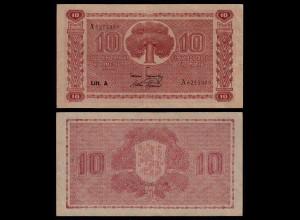 FINNLAND - FINLAND 10 MARKKA 1945 Litt. A PICK 77a VF (3) Serie A (23637