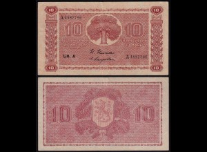 FINNLAND - FINLAND 10 MARKKA 1945 Litt. A PICK 77a F/VF (3/4) Serie A (23638