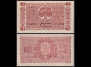 FINNLAND - FINLAND 10 MARKKA 1945 Litt. B PICK 77a VF (3) Serie N (23639