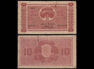 FINNLAND - FINLAND 10 MARKKA 1945 Litt. B PICK 77a VG (5) Serie O (23641