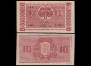FINNLAND - FINLAND 10 MARKKA 1945 Litt. B PICK 77a VF (3) Serie I (23642