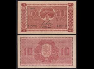 FINNLAND - FINLAND 10 MARKKA 1945 Litt. B PICK 77a VF (3) Serie H (23643