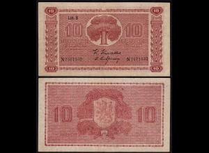 FINNLAND - FINLAND 10 MARKKA 1945 Litt. B PICK 77a VF (3) Serie N (23644