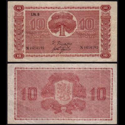 FINNLAND - FINLAND 10 MARKKA 1945 Litt. B PICK 77a F/VF (3/4) Serie N (23645
