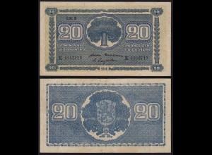 FINNLAND - FINLAND 20 MARKKA 1945 Litt. B PICK 78a XF- (2-) Serie K (23648