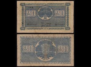 FINNLAND - FINLAND 20 MARKKA 1945 Litt. B PICK 78a VG (5) Serie H (23649