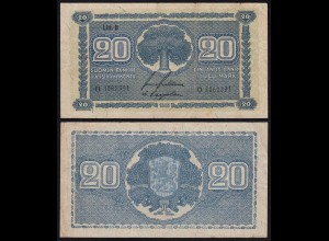 FINNLAND - FINLAND 20 MARKKA 1945 Litt. B PICK 78a F (4) Serie O (23650
