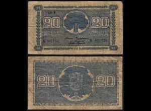 FINNLAND - FINLAND 20 MARKKA 1945 Litt. B PICK 86 VG (5) Serie K (23651