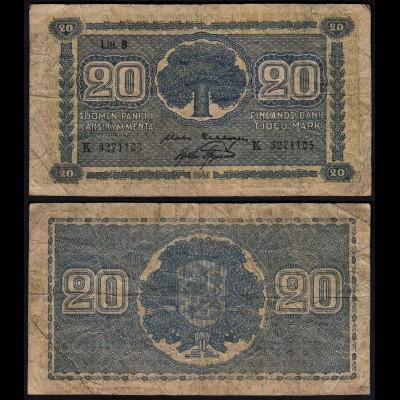 FINNLAND - FINLAND 20 MARKKA 1945 Litt. B PICK 78a VG (5) Serie K (23651